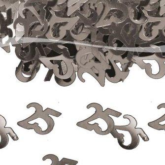 Tafelconfettie 25 zilver