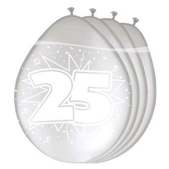 Zilveren metallic ballonnen met opdruk 25