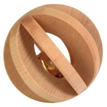 Wooden slat ball with bell 6 cm