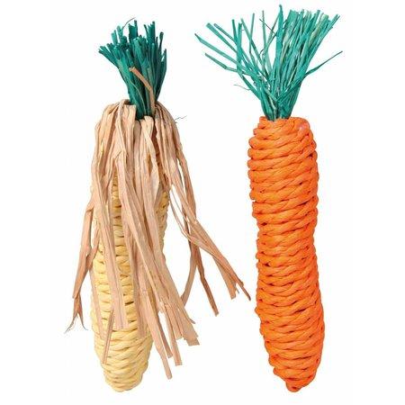 Trixie Corn & Carrot Straw Toys 15 cm