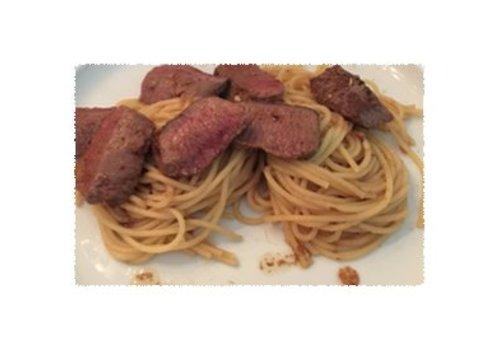Spaghetti met lamsrugfilet