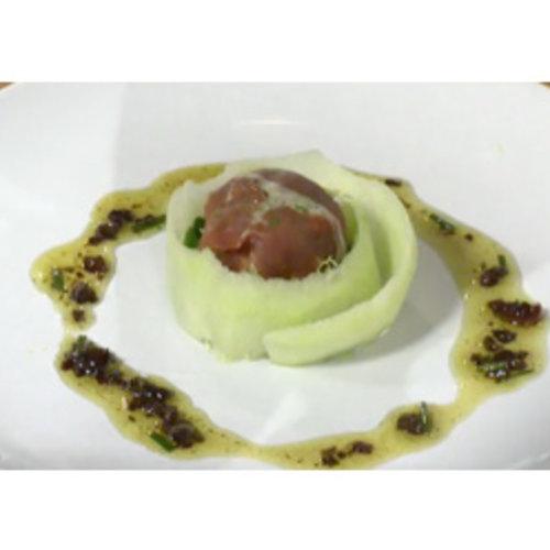 Oesterzwambonbon met olijvenvinaigrette