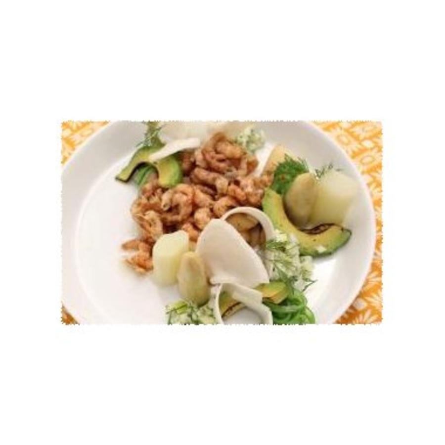 Salade van asperges, garnalen, venkel en Granny Smith