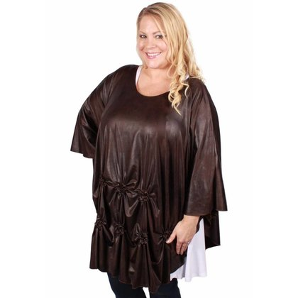 Magna Fashion Poncho M6002 LEATHER LOOK WINTER