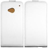 HTC One M7 - Flip Case Cover Hoesje Lederlook Wit