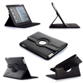 Apple iPad 2 / 3 / 4  - Hoes 360° Draaibare Case Lederlook Zwart