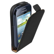 Samsung Galaxy Young - Flip Case Cover Hoesje Leder Zwart