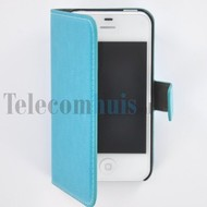 Apple iPhone 4/4S - Wallet Book Case / hoesje Slim -Turquoise