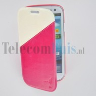 Samsung Galaxy S4 - Wallet Bookstyle Case Duocolor Roze-Wit