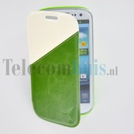 Samsung Galaxy S4 - Wallet Bookstyle Case Duocolor Groen-Wit