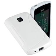 LG- L1-2- E410 - Silicone  case Hoesje S Style - Wit