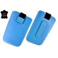 Samsung i9190 Galaxy S4 Mini - Echt Leder insteek hoesje L - Turquoise