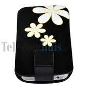 Samsung i9190 Galaxy S4 Mini - insteek hoesje met bloem - Zwart