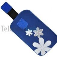 Samsung i9190 Galaxy S4 Mini - insteek hoesje met bloem - Blauw