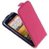 HTC One S  -PU leer  Flip case/cover hoesje - Roos