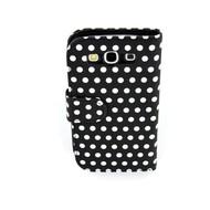Samsung Galaxy S3 - Wallet Bookstyle Case Hoesje Polkadot Zwart