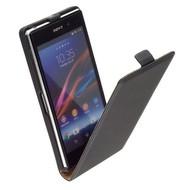 Sony Xperia Z1 - Leder  Flip case hoesje - Zwart