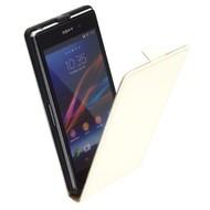 Sony Xperia Z1 - Leder  Flip case hoesje - Cremewit