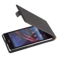 Sony Xperia Z1- Lederlook Flip case hoesje - Zwart