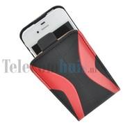Apple iPhone 4/4S hoesje - Kunststof Flip case Cover - Zwart Rood
