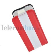 Apple iPhone 4/4S hoesje - Kunststof Flip case Cover - streep Rood wit