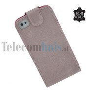 Apple Iphone 4/4S - Echt Leder Flip case P hoesje - Oud roos