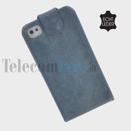 Apple Iphone 4/4S - Echt Leder Flip case P hoesje - Blauw