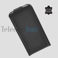 Apple iPhone 5 / 5S - Flip Case Cover Hoesje Echt Leder Zwart