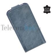 Apple iPhone 5 / 5S - Flip Case Cover Hoesje Echt Leder Blauw