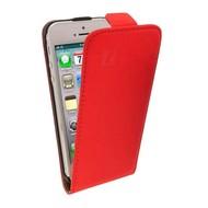 Apple iPhone 4/S- Leder Flip case klap hoesje - Rood