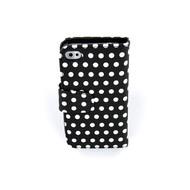 Apple Iphone 4 /4 S Bookstyle Case Hoesje -Polkadot Zwart