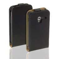 Samsung Galaxy Trend Plus - Flip Case Cover Hoesje Lederlook Zwart