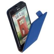LG L70 D320N  -Leder  Flip case/cover hoesje - Blauw