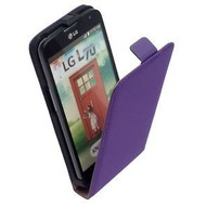 LG L70 D320N  -Leder  Flip case/cover hoesje - Paars