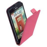 LG L70 D320N  -Leder  Flip case/cover hoesje - Pink