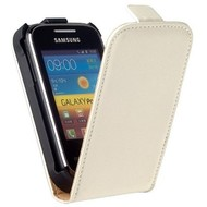 Samsung S5300 Galaxy Pocket  -Leder  Flip case/cover hoesje - Wit