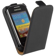 Samsung S5300 Galaxy Pocket  -Leder  Flip case/cover hoesje - Zwart