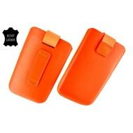 Motorola Moto E - Insteekhoesje Cover Leder Oranje