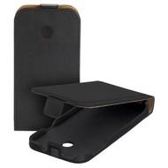 Huawei Ascend Y330 - Lederlook Flipcase Cover Hoesje Zwart