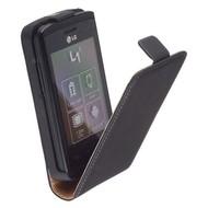 LG L1-2 E410 - Leder  Flip case/cover hoesje - Zwart