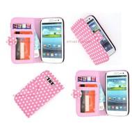 Samsung Galaxy S3 Neo - Wallet Bookstyle Case Hoesje Polkadot Roze