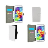Samsung Galaxy S5 Neo - Wallet Bookstyle Case Lederlook Wit