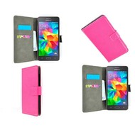 Samsung Galaxy Grand Prime - Wallet Bookstyle Case Lederlook Roze