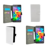 Samsung Galaxy Grand Prime - Wallet Bookstyle Case Lederlook Wit