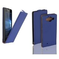 Microsoft Lumia 950 - Flip Case Cover Hoesje Leder Blauw
