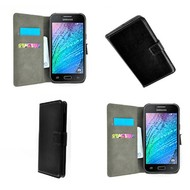 Samsung Galaxy J1 - Wallet Bookstyle Case Lederlook Zwart