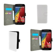 Motorola Moto G (2nd gen) 2014 - Wallet Bookstyle Case Lederlook Wit