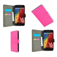 Motorola Moto G (2nd gen) 2014 - Wallet Bookstyle Case Lederlook Roze