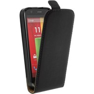 Motorola Moto G (2nd gen) 2014 - Flip Case Cover Hoesje Lederlook Zwart