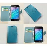 Samsung Galaxy J1 Ace - Wallet Bookstyle Case Lederlook Turquoise